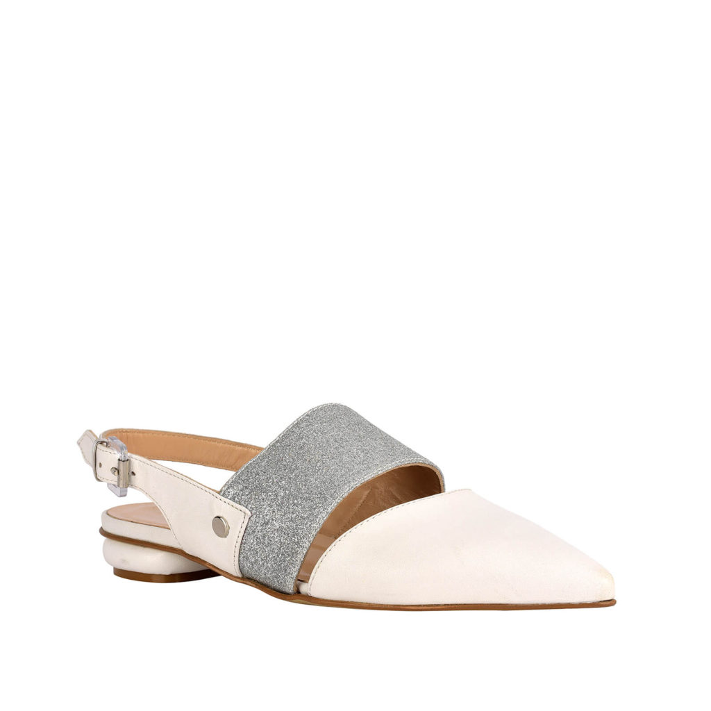 low cream sandal and silver formentini
