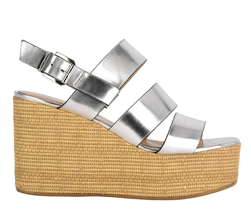 Open silver women's sandal with jute wedge formentini