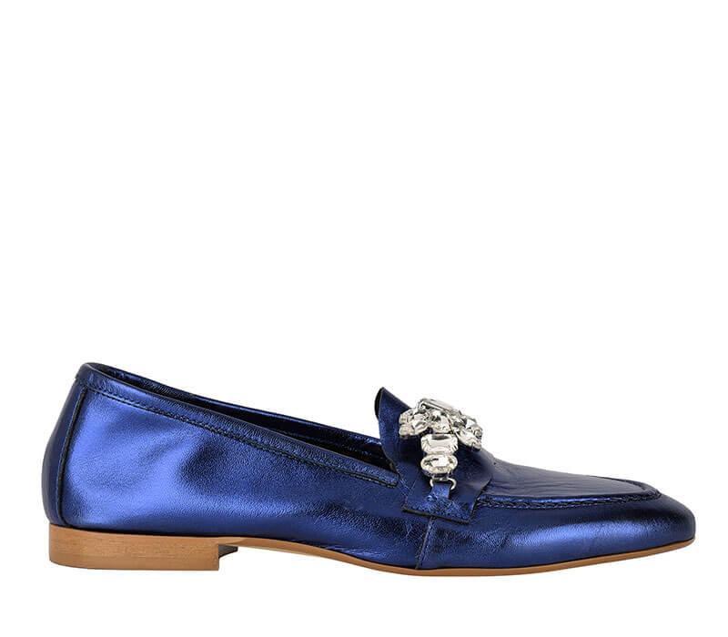 mocassino donna blue con inserti preziosi Formentini