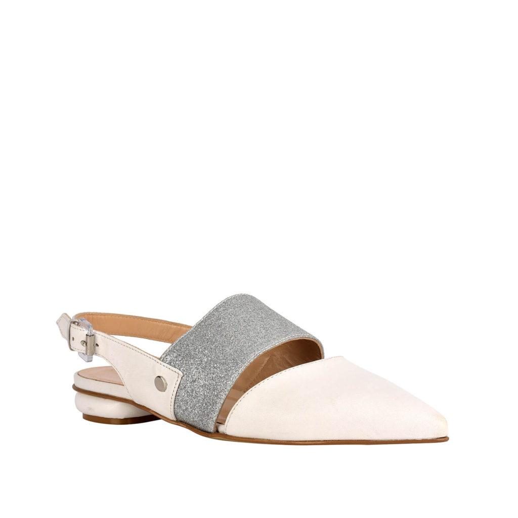 sandalo basso panna e argento formentini