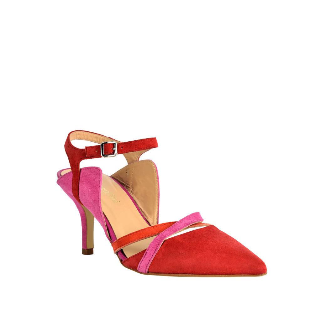 sandalo rosso e rosa con tacco formentini