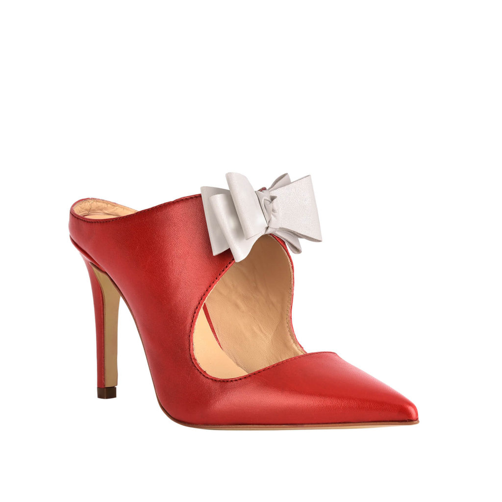 Sabot con tacco rossa e fiocco bianco Formentini